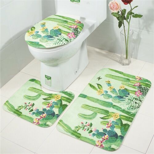 3PCS Pebble Print Bathroom Non-Slip Pedestal Rug Lid Toilet Cover Bath Mat Set