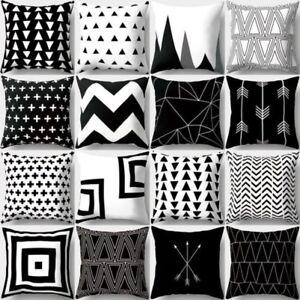 negro y Blanco Geométrico Melocotón Piel Manta Funda Cojín