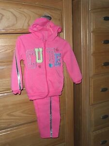 2B-REAL-GIRLS-SWEATSUIT-SIZE-2T-3T-PINK-SILVER-CUTE-NWT