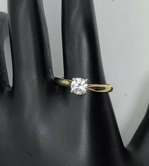18K Yellow Gold Solid Solitaire 0.45ct Diamond Engagement Ring GB#2220