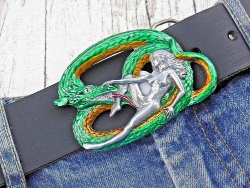Gürtelschnalle Drache mit Heiße Nackte Braut Gürtelschnalle Buckle Biker Harley