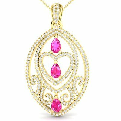 5010. 3.50 CTW Pink Sapphire & Micro VS/SI Diamond Heart Necklace 18K Gold... Lot 5010