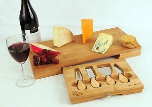Bamboo Cheese Board 4 Utensils Drawer Set Large Rectangular By Tru Bamboo 8438524752778 Ebay