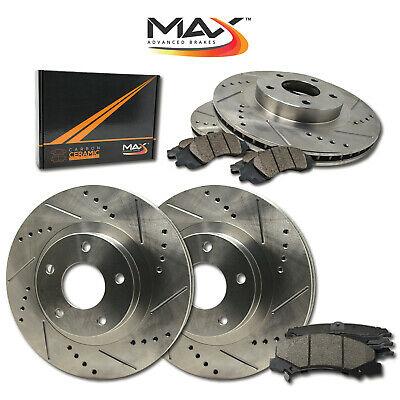 Max Brakes Rear Elite Brake Kit E-Coated Slotted Drilled Rotors + Metallic Pads Fits: 2008 08 2009 09 Ford F-150 w// 6 Lugs Rotors TA021482