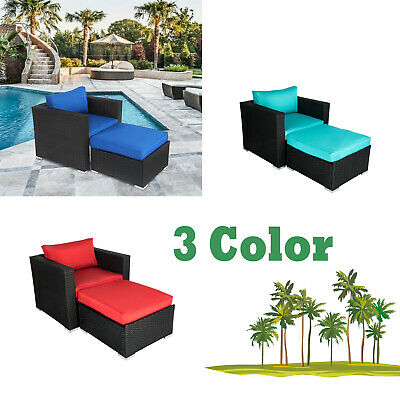 Patio Rattan Single Sofa Ottoman Set Hidden Cushion