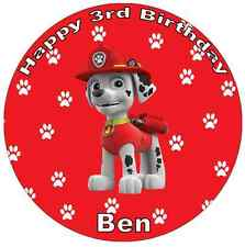 Paw PATROL MARSHALL personalizzata cake topper wafer commestibile carta 7.5""