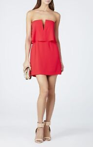 Details About New Bcbg Maxazria Red Berry Kate Strapless Overlay Dress Lmq68a67 M476a Size 2