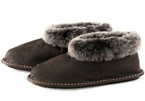 25c8b2511ba05 Details about Mens Genuine Sheepskin Slippers Moccasins Mules Boots Warm  Fur Wool