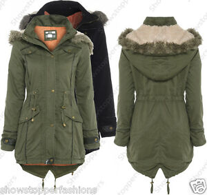 NEW-Womens-OVERSIZED-HOOD-PARKA-Ladies-JACKET-COAT-FISHTAIL-Size-8-10-12-14-16