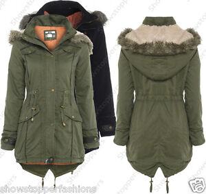NEW-Womens-OVERSIZED-HOOD-PARKA-Ladies-JACKET-COAT-FISHTAIL-Size-8-10-12-14-16