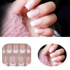 24pcs natural pink french short false nails acrylic full