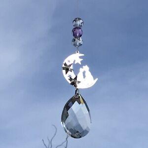 Glass Crystal moon Suncatcher