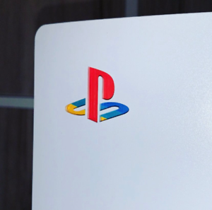 PlayStation 5 Retro Look Coloured Sticker Underlay. PS5