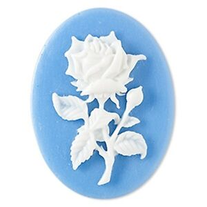 Blue-amp-White-Rose-Flower-Cameo-40x30mm-Oval-Resin-Flatback-Cabochon-1-piece