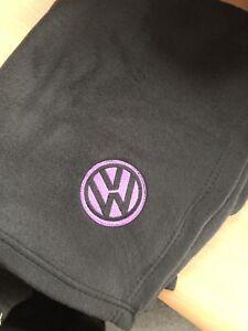Black-Fleece-Blanket-Embroidered-Vw-Style-Logo-Cadbury-Purple-Campervan