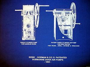 "Vintage Diving Helmet Air Pumps Siebe Gorman Blueprint Plan 14""x20"" (210)"