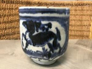 RARE OLD ANTIQUE CHINESE DYNASTY BEGGERS BOWL CUP POT BLUE WHITE CHING? MING?