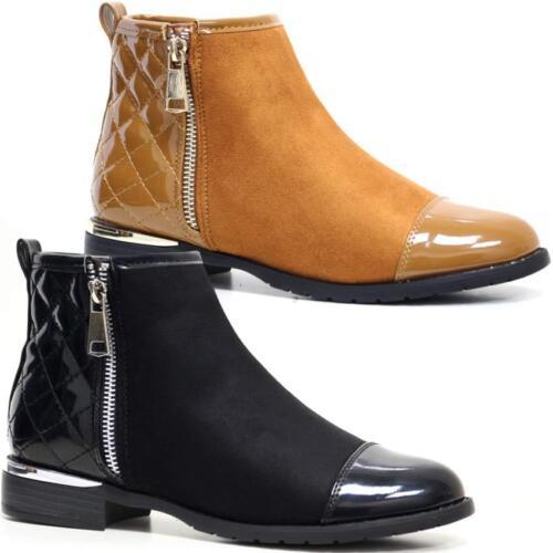 Femmes Bottines Chelsea Femmes Talon Bloc Matelassé Cheville Motard Équitation Fermeture Éclair Bottes Chaussures