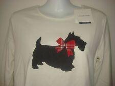 New Womens Christmas Croft Barrow Scottie Dog Shirt Knit Top Small S NWT