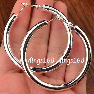 925 Sterling Silver 50mm//2 inch Large Round Hoop Tubular LightWeight Earrings R6