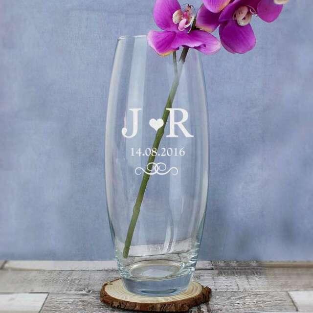 Personalised Wedding Monogram Bullet Glass Flower Vase Table