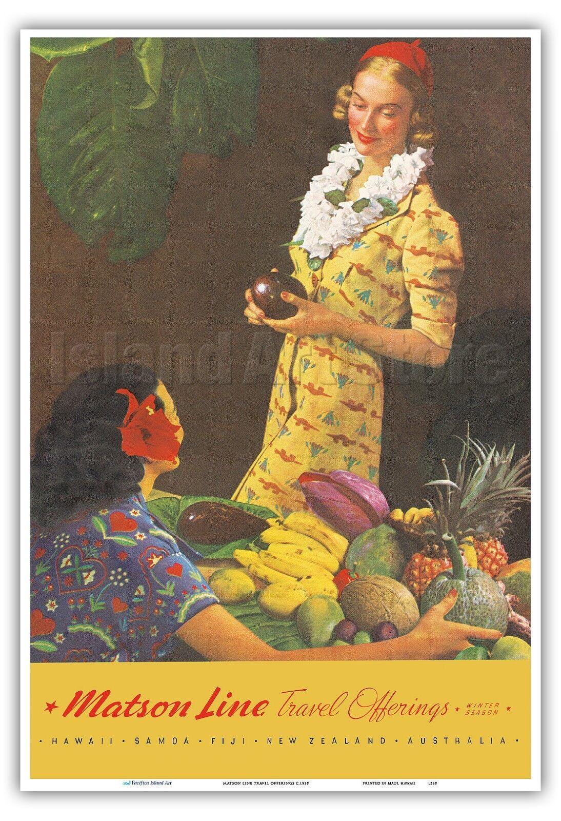 Tahiti Matson Line Menu Cover Macouillard 1957 Vintage Travel Poster Print