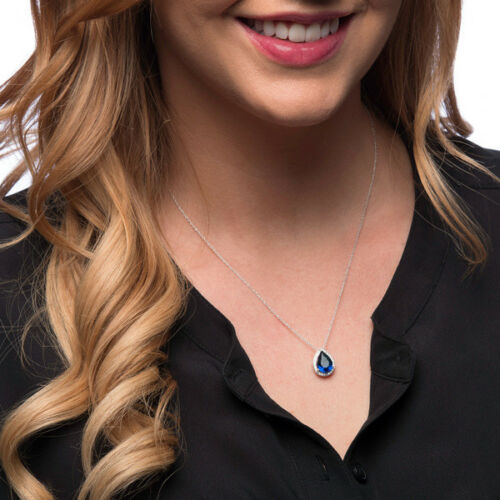 Sterling Silver White and Navy Blue Cubic Zirconia Tear Drop Pendant with Rope C