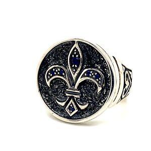Mens Sapphire Ring Sterling Silver Fleur De Lis Ring Mens Promise Ring