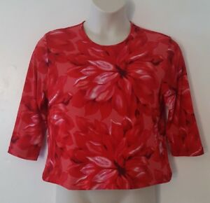 Fiorlini-International-Red-Floral-Flower-Print-3-4-Sleeve-Top-Blouse-Size-XL