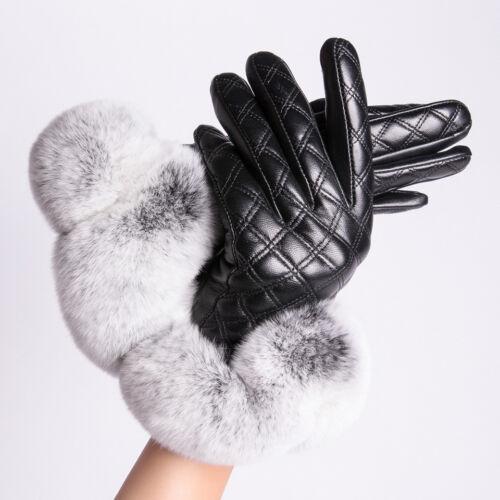 Women Winter Gloves Sheepskin Leather Touchscreen Hand Glove with Rex Rabbit Fur
