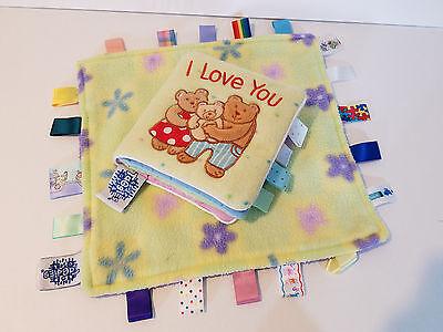 Little Taggies Yellow Flower Purple Fleece First Plush  Book I love You Lovey
