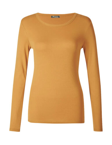 Women Ladies Plain Basic Long Sleeve Round Neck Stretch T-Shirt Plus Size Top