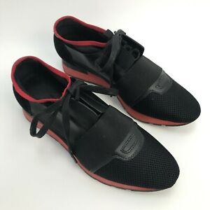 e75e51bea4d1 Image is loading BALENCIAGA-Black-Mono-Red-Leather-Mesh-Runner-Low-