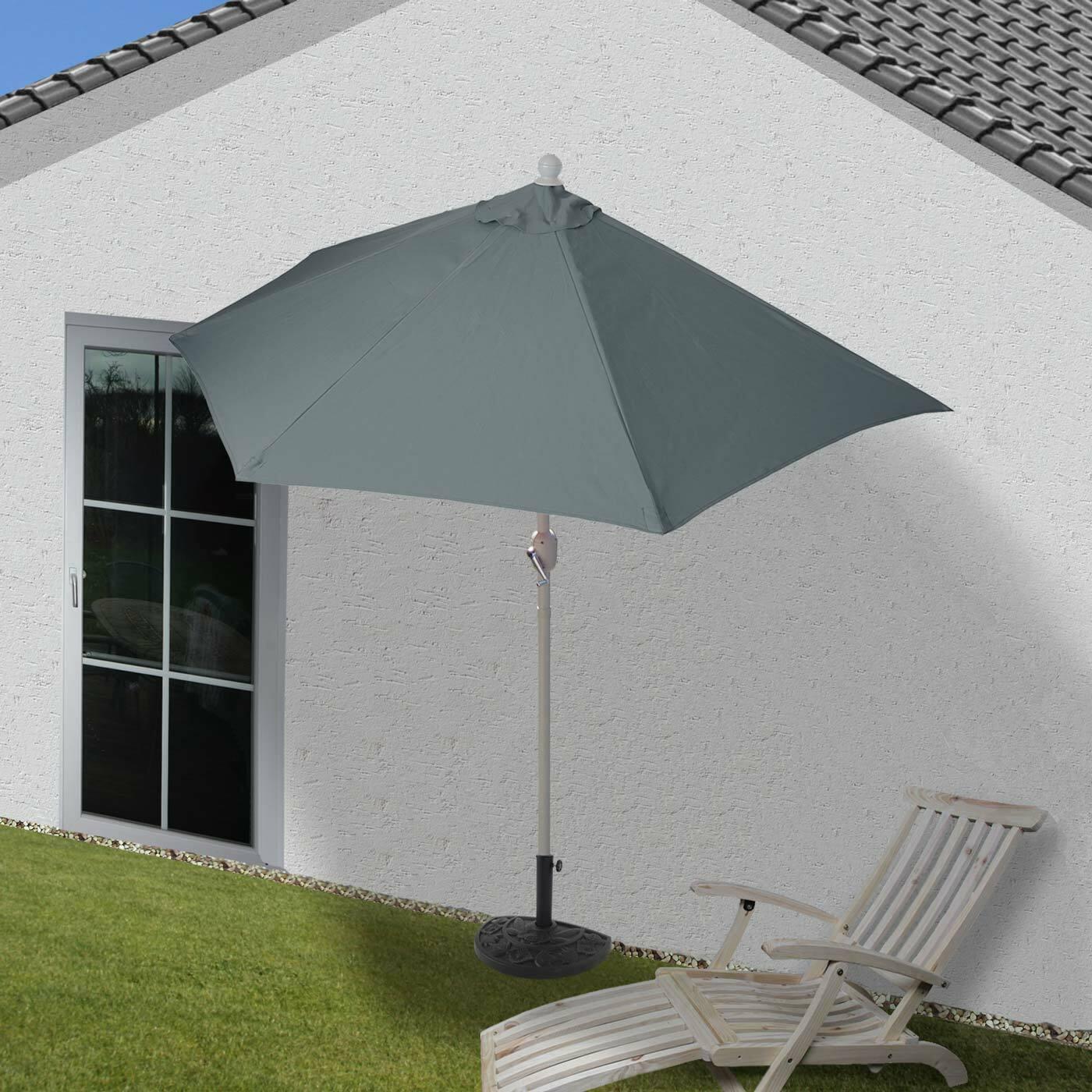 Parasol semicircular Parlamento, UV 50+, 300cm antracita con soporte