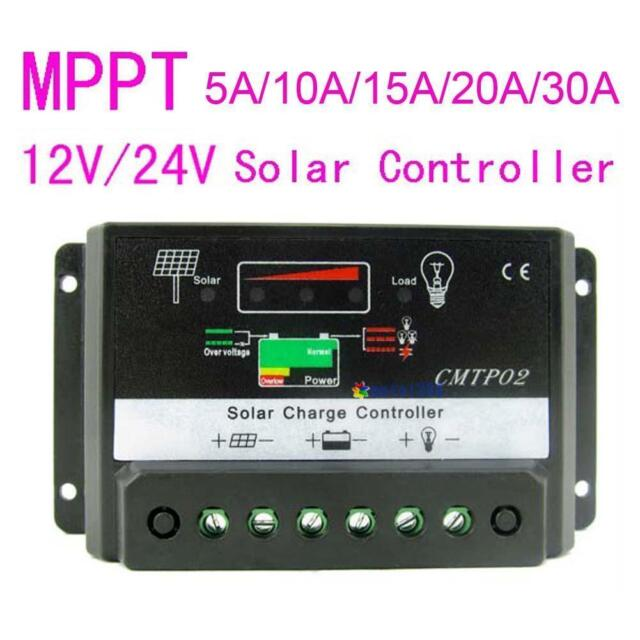 10/5/15/20/30A MPPT Solar Panel Regulator Charge Controller 12V/24V Auto Switch