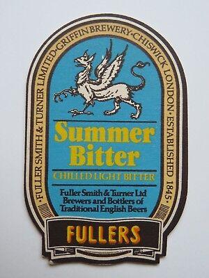 Fullers Gär Company Sommer Licht Bitter  London England Rohstoffe Sind Ohne EinschräNkung VerfüGbar FäHig Bar Untersetzer Sammeln & Seltenes Reklame & Werbung