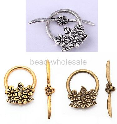 15sets Tibetan Antique Silver Flower Circle Toggle Clasp For Jewelry Making