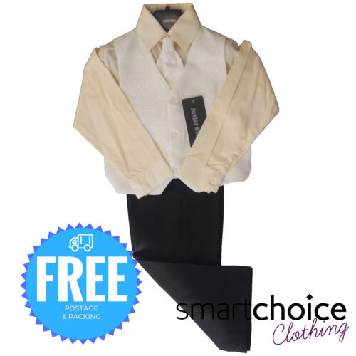 Boys 4pc Waist Coat Shirt Tie Trousers Set Cream Ivory High Quality Material
