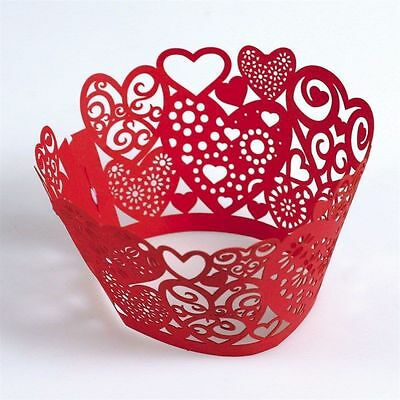 12 Red Love Heart Cupcake Wraps  Valentines Wedding Cup cakes