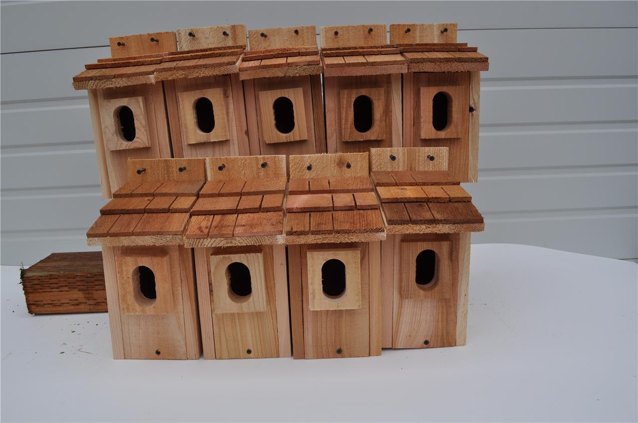 8 BLUEBIRD  BIRD HOUSES NEST BOX CEDAR WITH PETERSON OVAL OPENING FREE SHIPPING