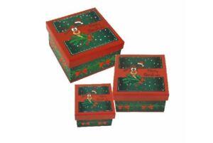 Geschenkkarton Weihnachten.Details Zu Geschenkkarton Weihnachten 3er Set Rentier Didi Verpackung Boxenset Quadratisch