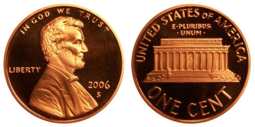FREE SHIPPING! 2006-S Proof Lincoln Memorial Cent Penny Deep Cameo