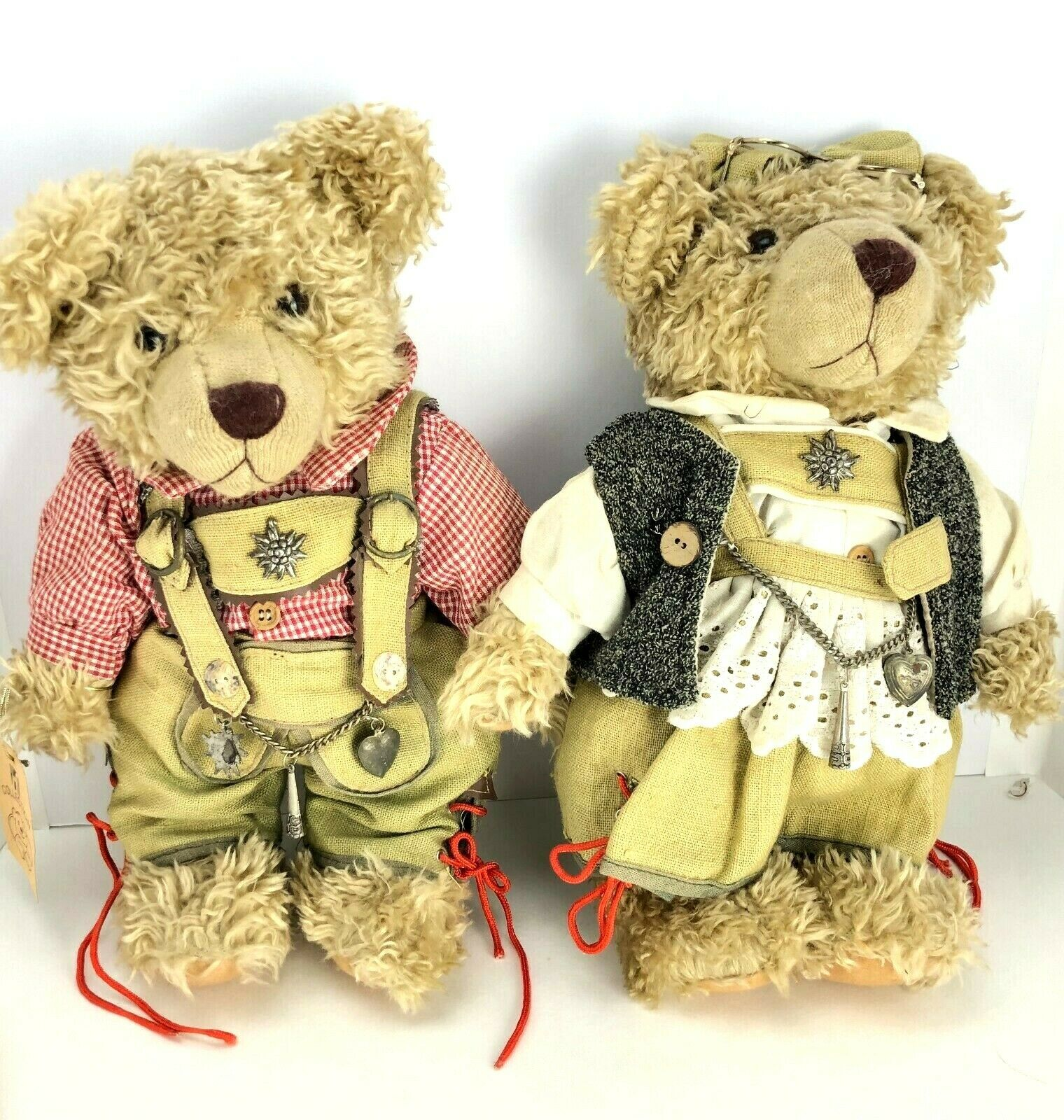 German Bear Plush Set Lot RF Collection Boy & Girl 13  Traditional Dress Clothes