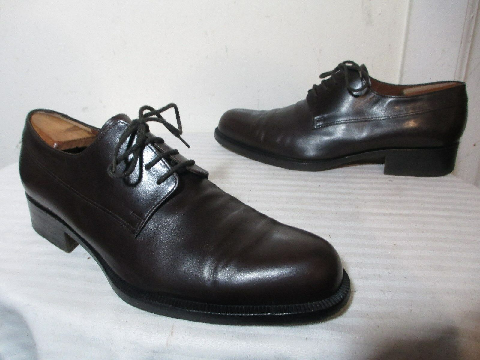 FRATELLI ROSSETTI 14011-142 Hommes Marron Cuir Derby Chaussures Sz 9 MADE IN ITALY
