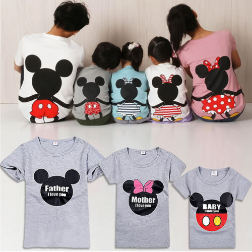Mickey Mouse Family Matching Clothes Tops Dad Mom Boys Girls Summer T-shirt Tees