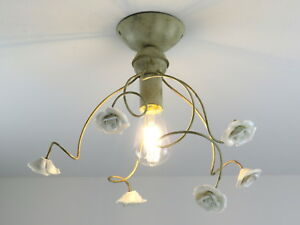 Plafoniere Per Cucina Classica : Plafoniera soffitto classica rustica in ceramica e metallo avorio