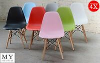 4 X Dsw Eames Style Dining Chair White Black Red Blue Green Pink Grey Yellow