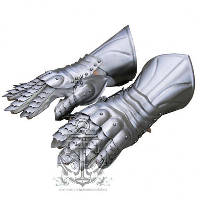Greek armour silver finish arm gloves steel with leather liner halloween party costume larp role play gift