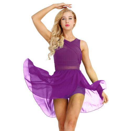 US/_ Women Adult Sleeveless Lyrical Ballet Dance Dress Gymnastics Leotard Costume