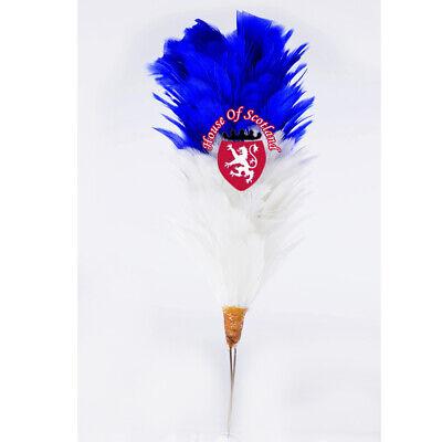 """Delizioso Glengarry Cappello Plume Piuma Pettine Blu Bianco 6 """" Balmoral Highland 15cm"""